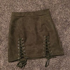 Dresses & Skirts - Lace Up Suede Bodycon Mini Skirt Army Green M